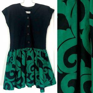 Vintage 1980's black & green full skirt dress